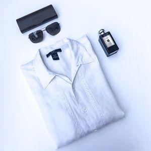 Elements Andrew Zimberg White Linen Short Shirt L
